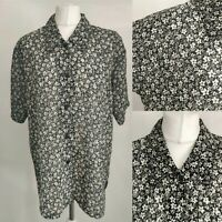 Perotchild Vintage Long Women Blouse Black Ditsy Floral Print Collar UK 12 14 L