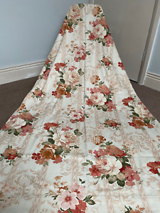 """Vintage Cream Peach Cabbage Roses Country Cottage Core Curtains 45""""w x 72l"""