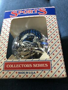 Vintage Carolina Panthers Glass Ornament NIB 1990s NFL Made In USA Topperscot
