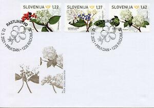Slovenia Flowers Stamps 2021 FDC Laurustine Wayfaring Snowball Tree 3v set