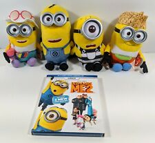 Despicable Me 2 & 3 Lot - 4 TY Beanie Babies Minions & Blu-Ray Movie - New