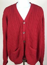 Polo By Ralph Lauren Red Cable Knit Button Front Cardigan Sweater men's XL