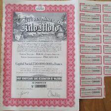 Belgian Congo 1944 Gold Mining Stock/Bond Certificates, 'Kilo Moto' - 10 PIECES