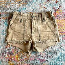 Free People Raw Edge High Waist Khaki Cargo Shorts