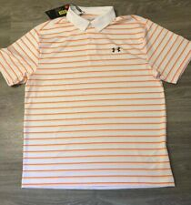 Nwt Men's L Under Armour White / Orange Stripe Performance Polo 1342082 $60