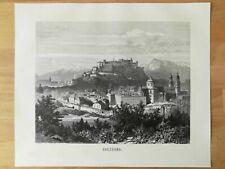 Salzburg Festung Hohensalzburg HOLZSTICH von 1873 Altstadt Salzburger Dom
