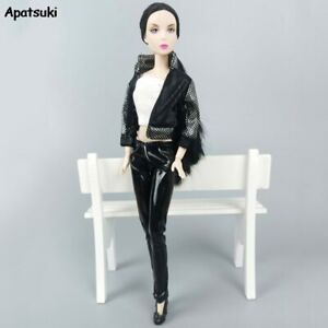 1Set Clothes Outfits For Barbie Doll Black Leather Coat Pants Short Top Clothes