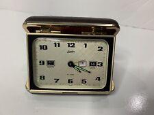 Vintage Linden Wind-up Travel Alarm Clock in Clamshell Case *works*