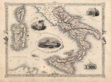 ITALIA meridionale. NAPOLI/IL VESUVIO SICILIA SARDEGNA CORSICA. Tallis/RAPKIN c1851 Mappa