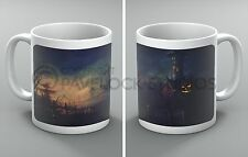 Halloween Mug Haunted Scarecrow Crows Ghosts Spooky House Gift Pumpkin Coffee