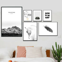 Mountain Horse Feather Canvas Poster Landscape Wall Art Print Nordic Home Decor