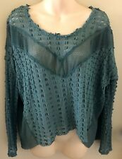 Free People Teal Textured Top Flowing Small Petite