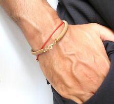 14 k solid gold camel leather cord charm bracelet bangle 5 mm men women string