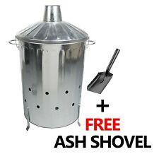 Garden Burning Fire Incinerator Galvanised 90L Leaves Rubbish Bin + Free Shovel