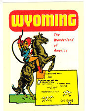 VINTAGE TRAVEL DECAL WYOMING COWGIRL HORSE RV TRAILER CAMPER AUTO OLD LUGGAGE VW