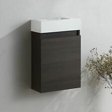 Felix Bathroom Cloakroom Wall Hung Basin Sink Vanity Dark Oak Unit 400mm