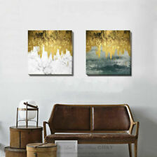 Golden Marble Stretched Canvas Print Framed Wall Art Hanging Home Office Decor
