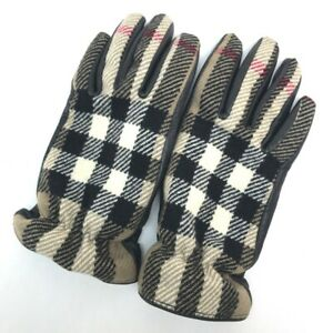 BURBERRY Fashion Accessories Check pattern Glove wool / Leather BrownBased Black