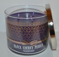 BATH & BODY WORKS BLACK CHERRY MERLOT SCENTED CANDLE 3 WICK 14.5 OZ LARGE PURPLE