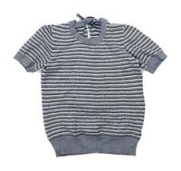 French Connection Womens Size M Striped Modal Blend Grey Bow Top (Regular)