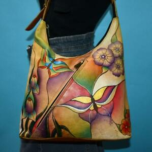 """ANUSCHKA Painted Art """"Butterfly Glass Painting"""" Leather Hobo Shoulder Purse Bag"""