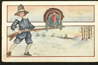Vintage Thanksgiving Postcard Old Card Best Wishes Post Card