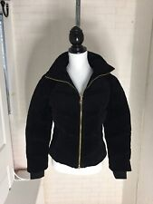 Juicy Couture Black Label Los Angeles Velour Track Down Puffer Bomber Jacket S