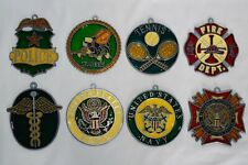 Lot Of 23 Stained Glass Ornaments Sun Catcher Police Fireman Navy Doctor