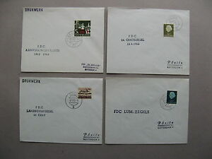 NETHERLANDS, 4x cover privat FDC's 1963