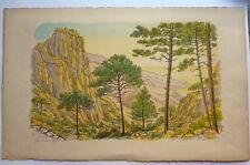 Benjamin Sarraillon (1901-1989) Lithographie Piana Corse 1959