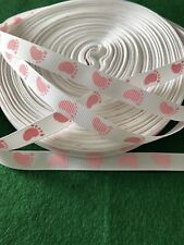 Brand New - 2 Metres Pink & White Baby Footprint Grosgrain Ribbon - 10mm