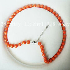 Sea Shell Pearl Necklace 18'' Aaa+ Fashion 8mm Coral Orange Color South
