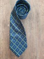BARNEYS NEW YORK Vintage Mens Silk Neck Tie Blue & Lime Green Check Design
