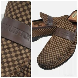 $$$$ Louis Vuitton LV Damier Pony Hair Leather Loafers Shoes Mens 10.5 9.5U 43.5