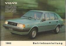 VOLVO 343 345 Betriebsanleitung 1982 Bedienungsanleitung Handbuch Bordbuch BA