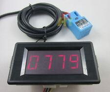 12V 4 Digit Red LED Counter Meter Panel+Waterproof Proximity Switch Sensor NPN