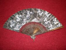 """Vintage Hand-Painted Hand Fan Black with Floral Pattern 7-1/4"""" Handle"""