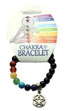 **BLACK ONYX & CHAKRA BEAD BRACELET WITH PENTAGRAM CHARM - HEALING / REIKI**