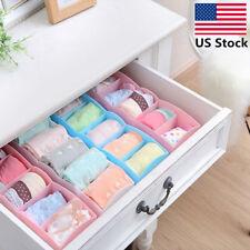 5 Cell Plastic Underwear Tie Bras Sock Ties Organizer Box Drawer Closet Green
