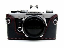 Leather Olympus OM1, 2, 3, 4 Black with Red Stitching Half Case - BRAND NEW