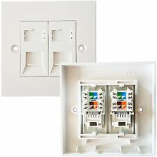 Double Port CAT5e IDC Wall Outlet Face Plate -2 Way RJ45 Network Ethernet Socket
