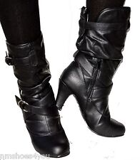 New Women High Heel Faux Leather Slouch Kitten Mid Calf Dress Boots Black Ladies