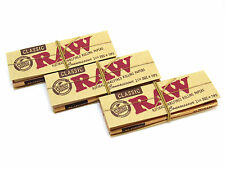 Raw Classic Connoisseur Rolling Papers- Natural - 3 Packs- 50 leaves Tips 1 1/4