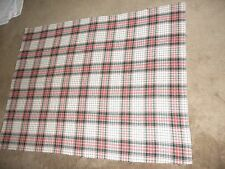 Vintage Wool Fabric Material Remnant Plaid 57 x 43 white red green