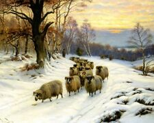 Barker Wright A Shepherd And His Flock On A Path In Winter  - 24'  CANVAS