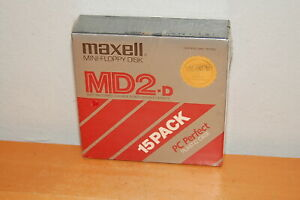 Maxell Mini Floppy Disk MD2-D 15 Pack New Sealed With Storage Case