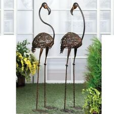 "2 Set Life-sized 42"" Tall Large Metal Flamingo Sculpture Garden Yard Stake Decor"