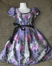 REVIEW Silver Floral Dress with Black Belt - Size 8 party Christmas function