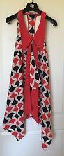 New FASHION STAR for H&M Retro Lady's Red/Black/Beige geometric dress, SZ 4
