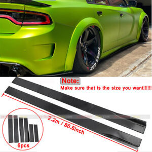 86.6'' Side Skirts Rocker Panel Lip Splitter For Dodge Charger RT SRT SXT 15-20